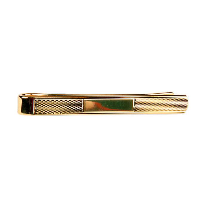 Gold Finish Bracelet Effect Tie Bar