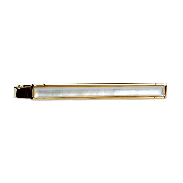 Mother Of Pearl Gold Look Tie Bar