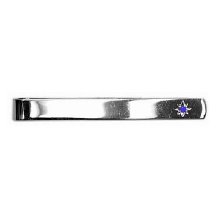 Sterling Silver Sapphire Star Set Tie Bar