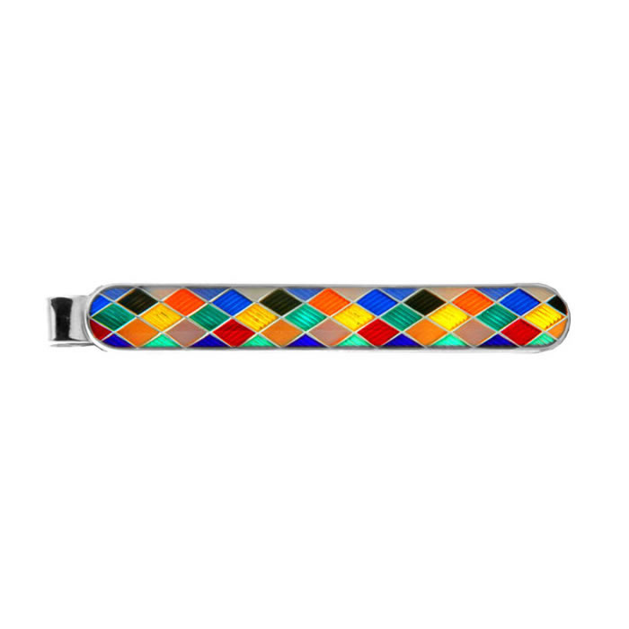 Sterling Silver Multicoloured Chequered Tie Bar