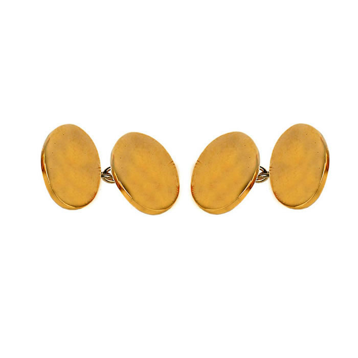 Oval Double Chain Simple Cufflinks