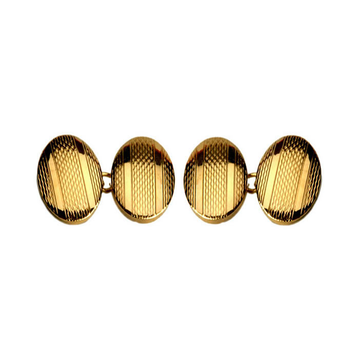 Oval Double Chain Engraved Stripe Pattern Cufflinks