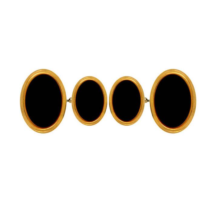 Oval Double Chain Black Cufflinks