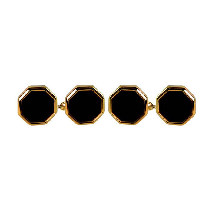 Octagonal Black Double Chain Cufflinks
