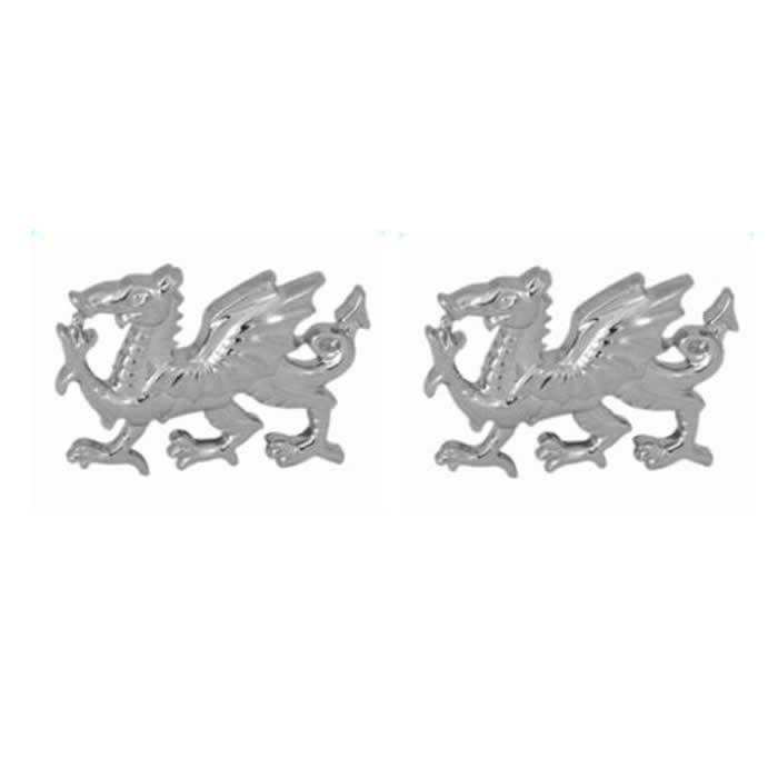 Sterling Silver Welsh Dragon Shaped Cufflinks