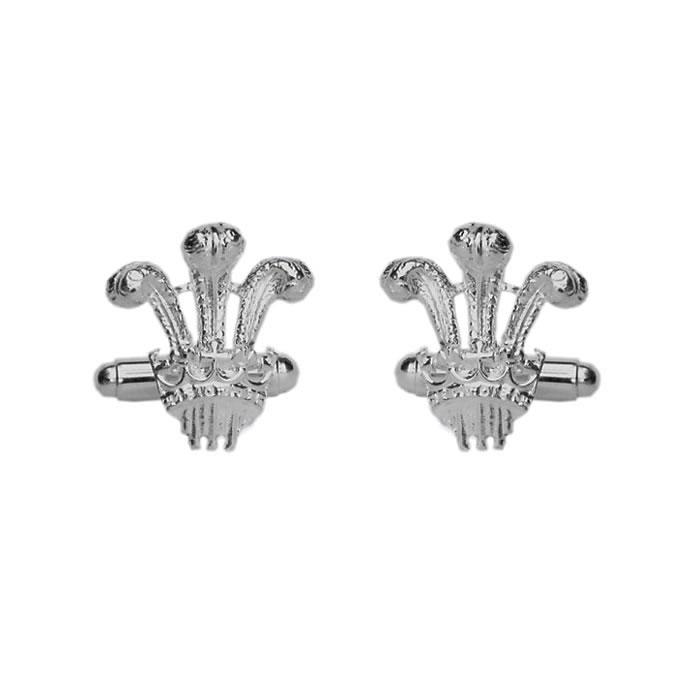 Sterling Silver Prince Of Wales Emblem Cufflinks