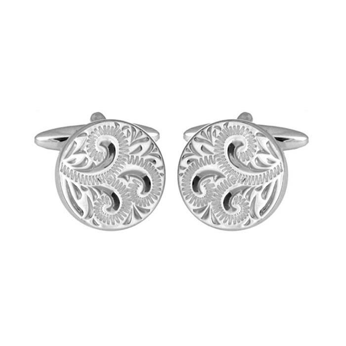 Sterling Silver Round Venetian Cufflinks