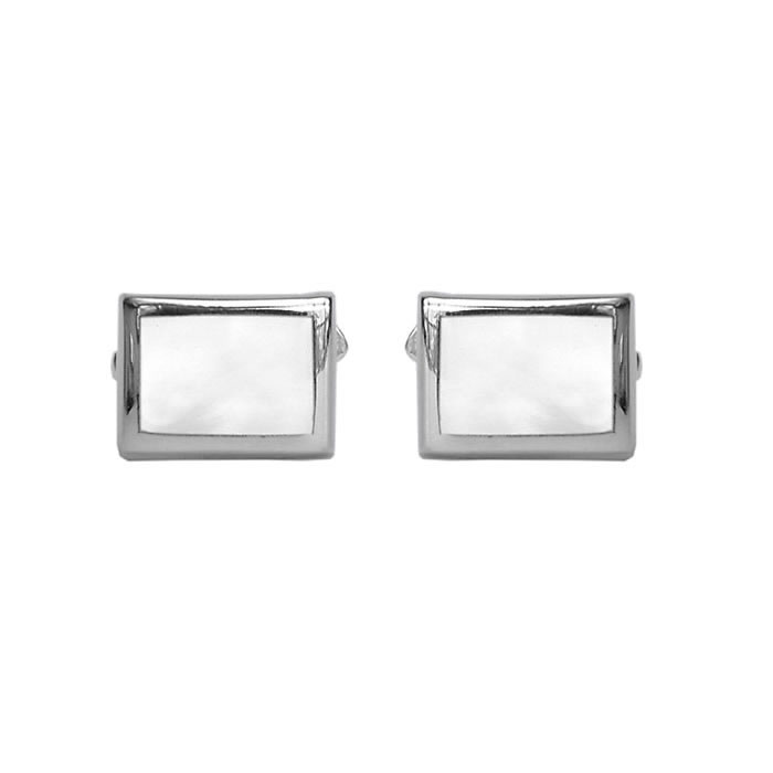 Sterling Silver Rectangular Mother Of Pearl Cufflinks