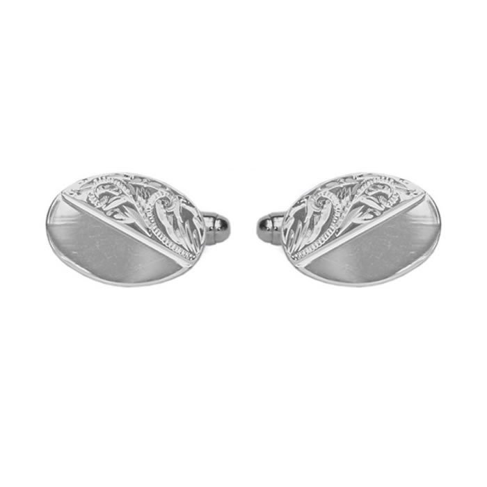 Sterling Silver Venetian Engraved Effect Oval Cufflinks