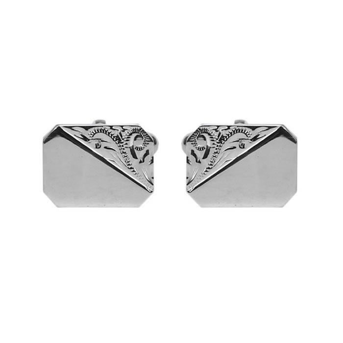 Sterling Silver Venetian Engraved Patterned Cufflinks