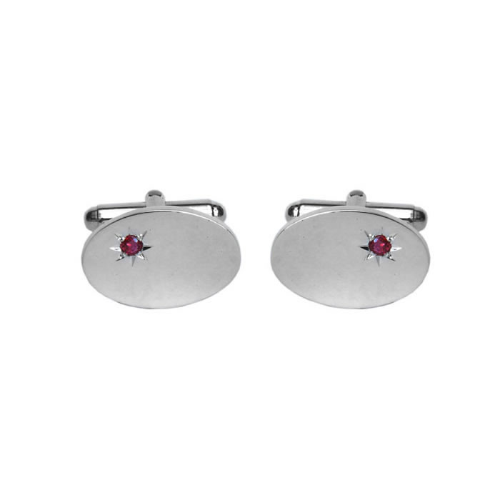 Sterling Silver Oval Ruby Cufflinks