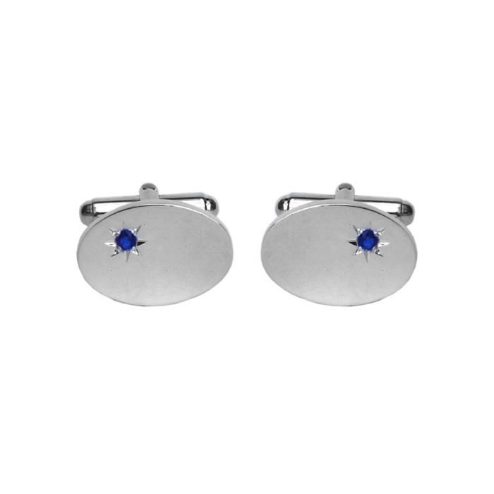 Sterling Silver Oval Sapphire Cufflinks