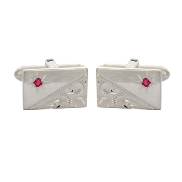 Sterling Silver Ruby Set Engraved Cut Corners Cufflinks
