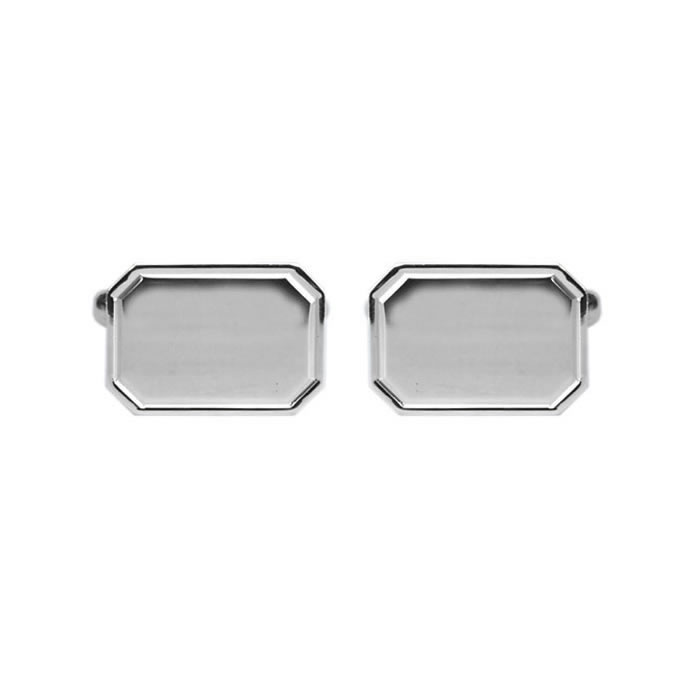 Sterling Silver Simple Octagon Shaped Cufflinks