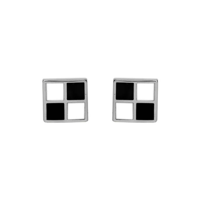 Sterling Silver Black And White Square Cufflinks
