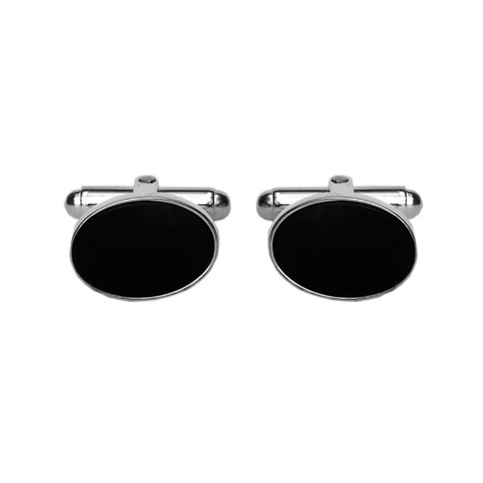 Sterling Silver and Onyx Oval Cufflinks