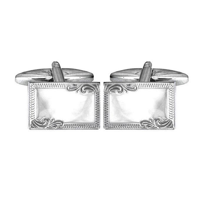Sterling Silver Rectangular Venetian Border Cufflinks