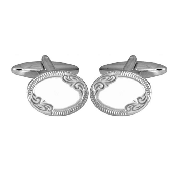 Sterling Silver Oval Venetian Border Cufflinks