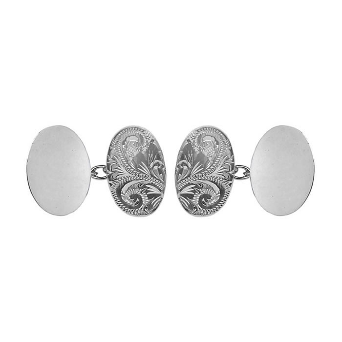 Sterling Silver Venetian Engraved Double Chain Oval Cufflinks