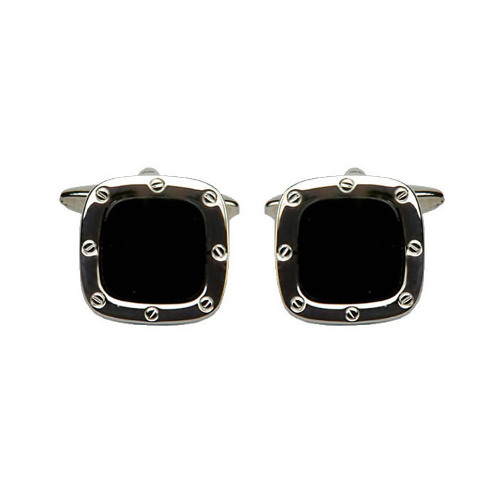 Square Rivet Detail Black Cufflinks
