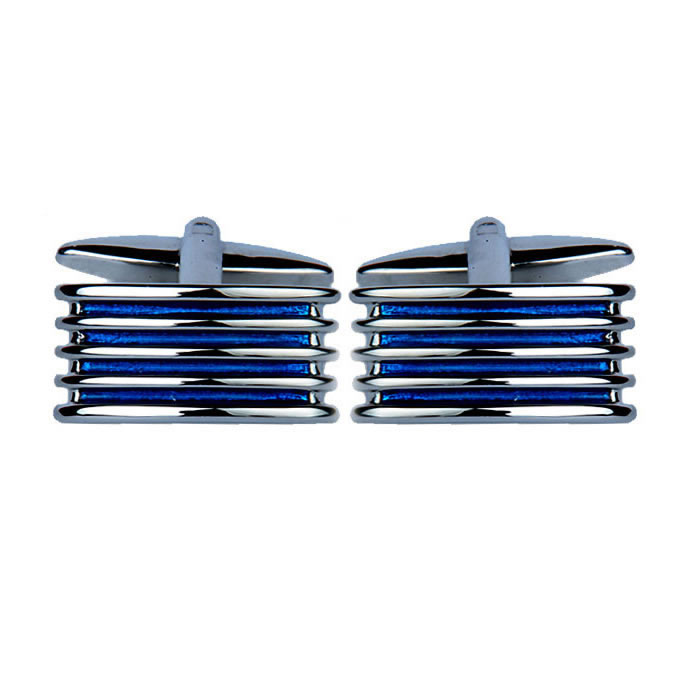 Ribbed Blue Enamel Cufflinks