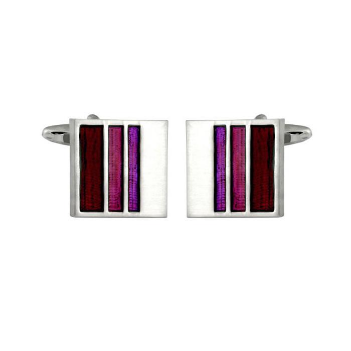Purple Enamel Striped Cufflinks