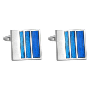 Striped Blue Enamel Cufflinks