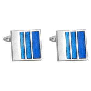 Striped Blue Enamel Cufflinks