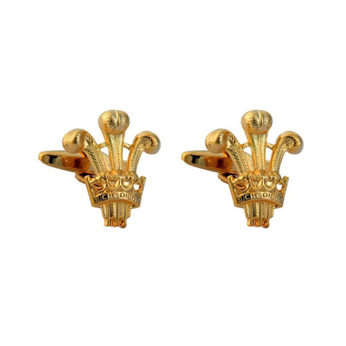 Prince Of Wales Emblem Gold Look Cufflinks