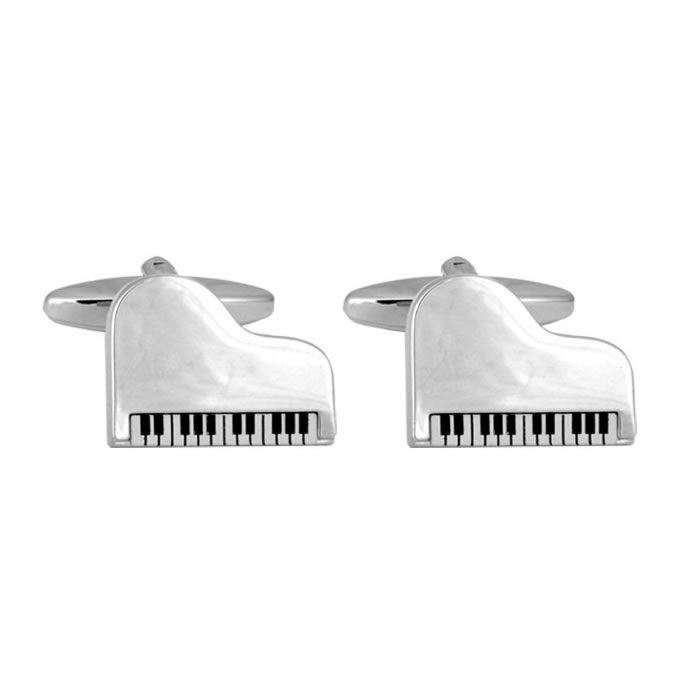 Grand Piano Silver Look Cufflinks