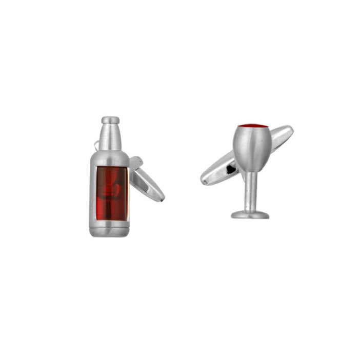 Wine Bottle And Glass Shaped Cufflinks