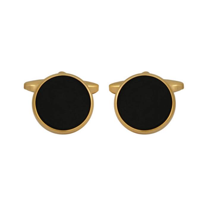 Onyx Round Gold Plate Cufflinks
