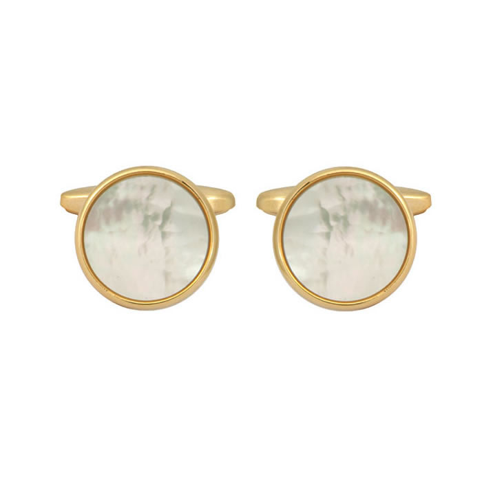 Mother Of Pearl Round Gold Cufflinks