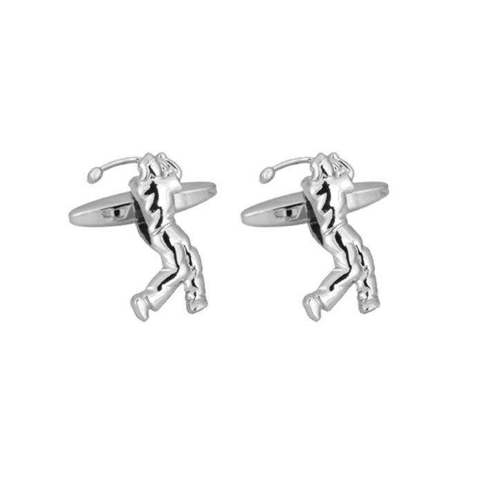 Rhodium Plated Golfer Cufflinks