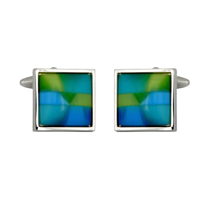 Square Blue And Green Cufflinks