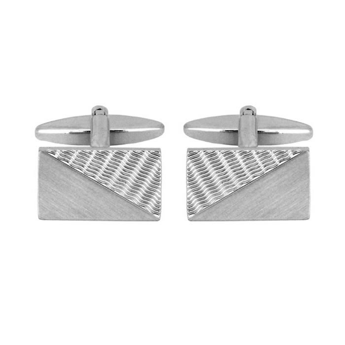 Brushed And Wave Effect Cufflinks