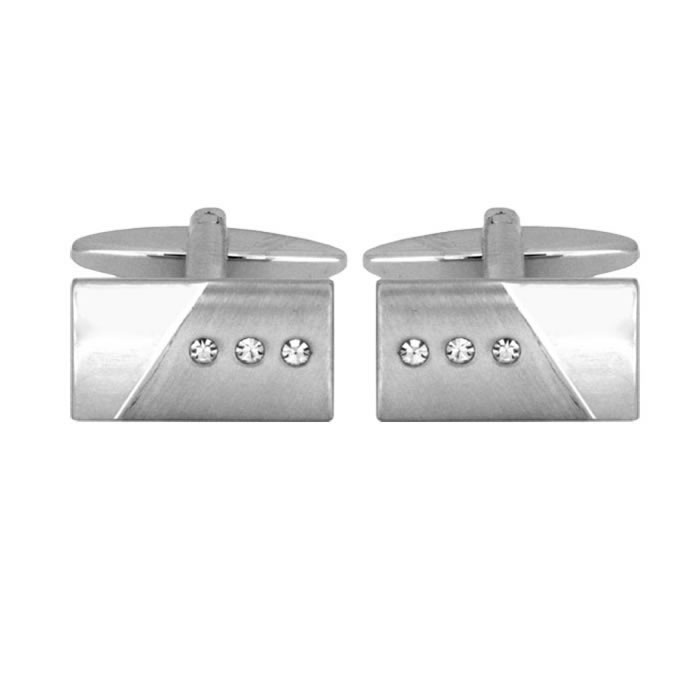 Brushed And Smooth With Crystal Cufflinks
