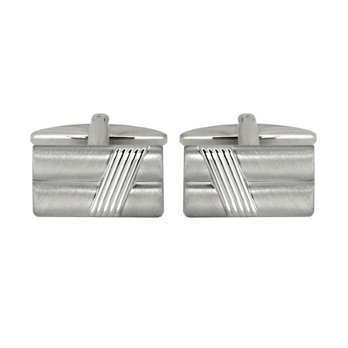 Brushed And Lines Effect Cufflinks
