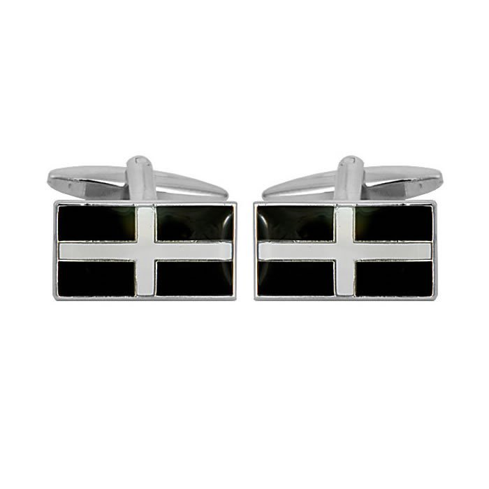 Rectangular Cornish St Piran Flag Cufflinks