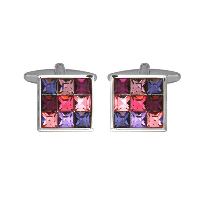 Multicoloured Crystal Cufflinks
