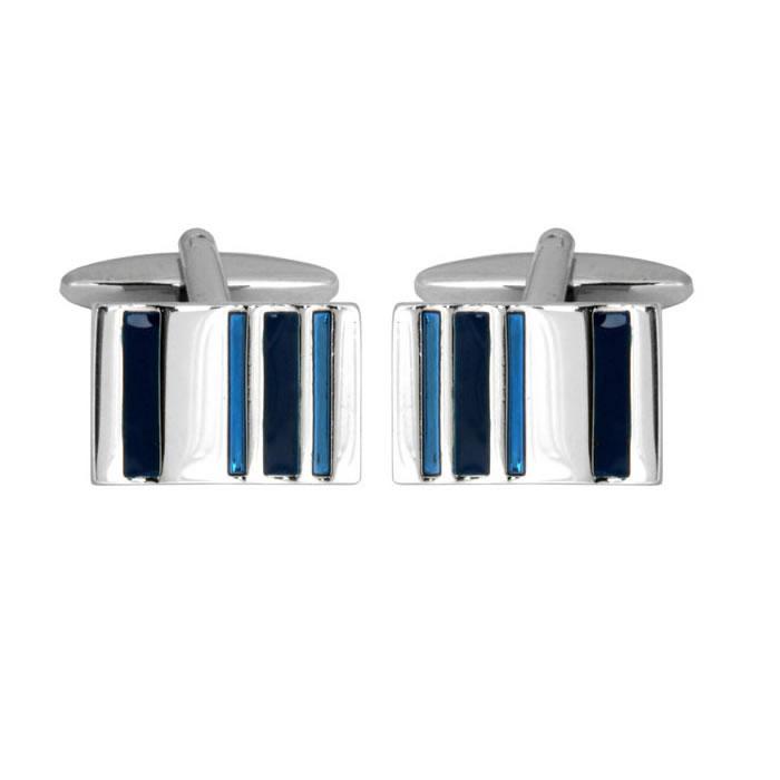 Blue Enamel Stripe Barcode Cufflinks