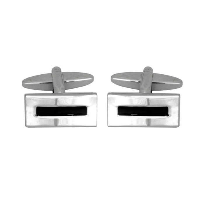 Black Enamel Centre Cufflinks