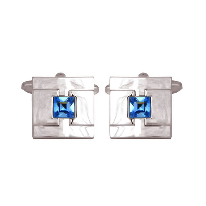 Anurio Blue Crystal Cufflinks