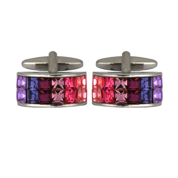 Curved Multicoloured Crystal Cufflinks