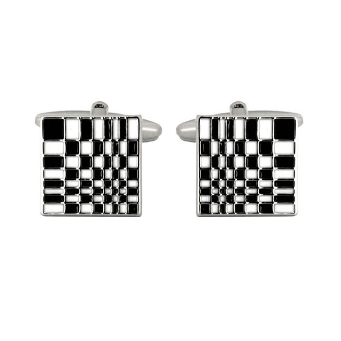 Black And White Abstract Chequered Cufflinks