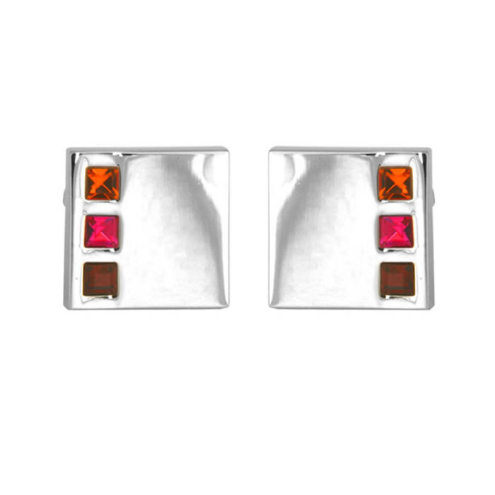 Red And Brown Crystal Cufflinks