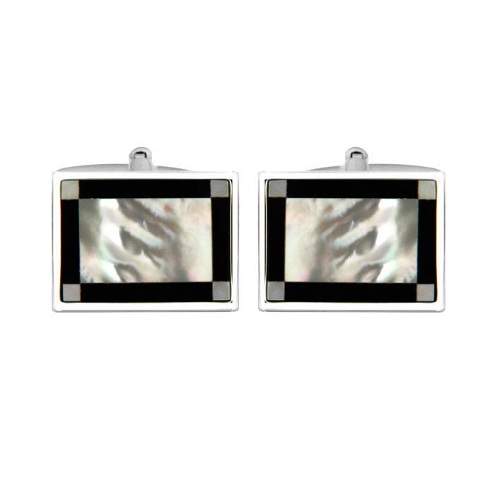 Rectangular Stone Checked Cufflinks