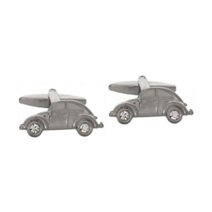 Beetle Silver Car Cufflinks