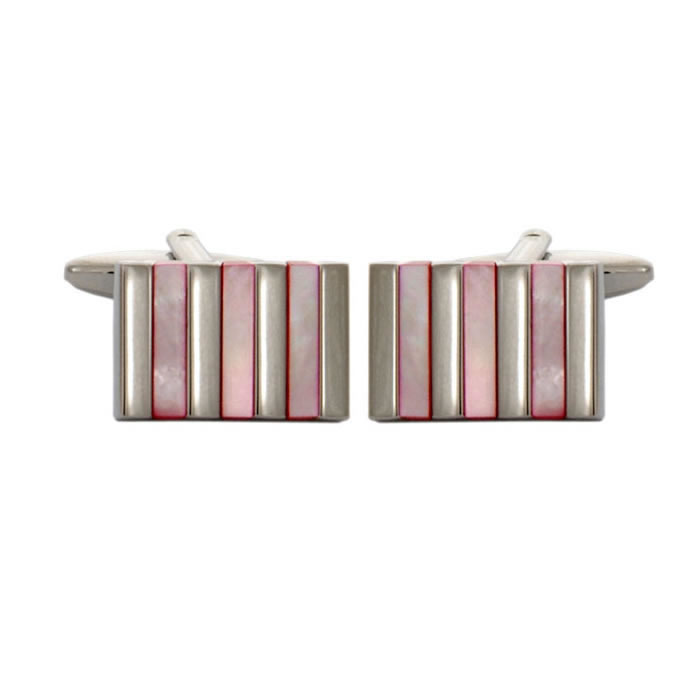 Pink Cats Eye Stripes Cufflinks