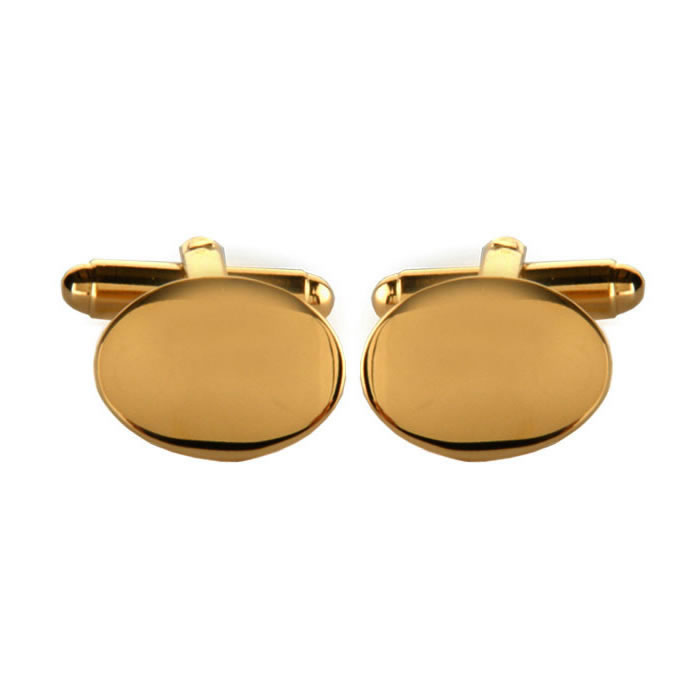 Oval Gold Plated Simple Cufflinks
